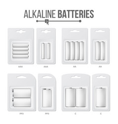 batteries packed set different types aaa vector image