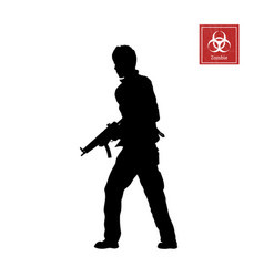 Black silhouette man with rifle vector