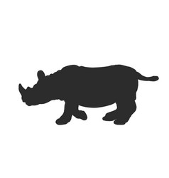 black silhouette of rhinoceros isolated on white vector image