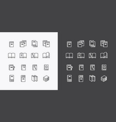 book flat line icons design set vector image