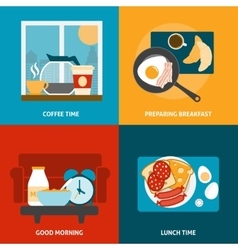 Breakfast and lunch icons set vector image