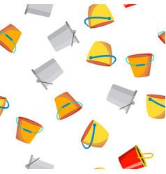 Buckets pails seamless pattern vector