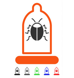 Bug protection condom flat icon vector
