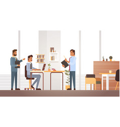 business man group meeting discussing office desk vector image