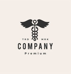 caduceus wing snake hipster vintage logo icon vector image