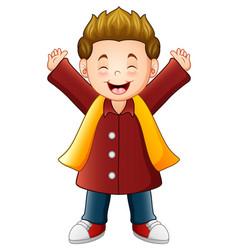cartoon happy boy in red winter clothes vector image