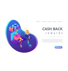 Cash back isometric 3d landing page vector