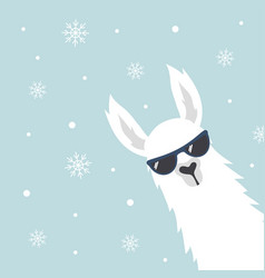 Christmas card with llama vector