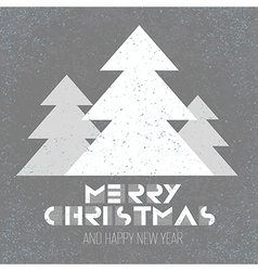 Christmas poster retro with xmas tree vector