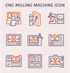 Cnc milling icon vector