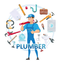 Colorful plumbing round concept vector