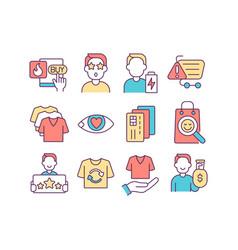 Consumerism rgb color icons set vector