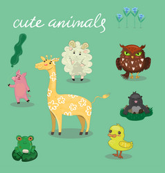 cute animals hand drawn style vector image