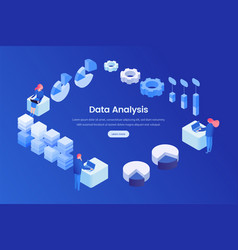 data analysis landing page isometric template vector image