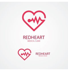 design logo combination a heart and pulse vector image