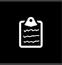 document icon on black background black flat vector image