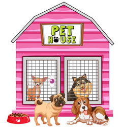 Dogs in pink pet house vector