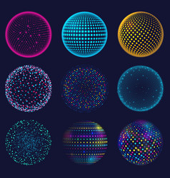 Dotted neon 3d sphere abstract atomic vector