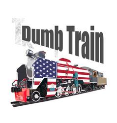 Dumb train wordplay from trump train steam vector
