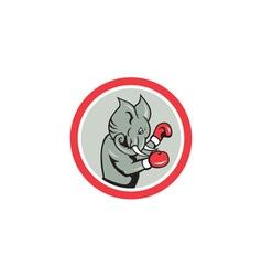Elephant Boxer Boxing Circle Cartoon vector