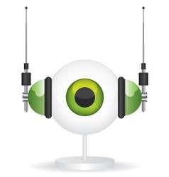 Eye green camera and headphones vector image