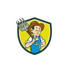 Farmer Holding Pitchfork Shoulder Crest Cartoon vector image