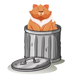 Fat cat sitting in trashcan vector image
