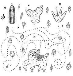 find out which cactus will get llama outline vector image
