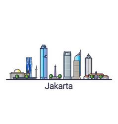 flat line jakarta banner vector image