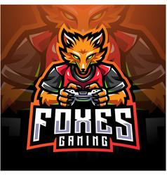 fox gamer esport holding game-pad joystick vector image