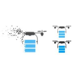 Fractured dot halftone cargo drone icon vector