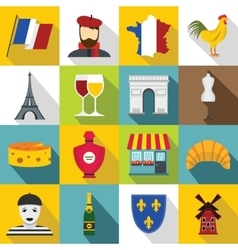 France travel icons set flat style vector