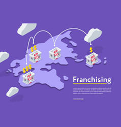 Franchising chains store on purple vector