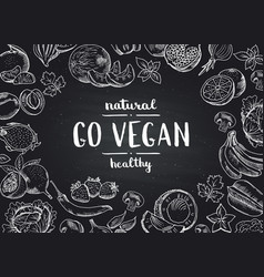 go vegan blackboard background with doodle vector image