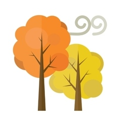 Golden autumn trees flat vector
