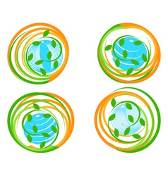green icons with flower vector image