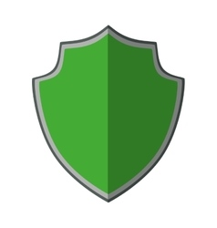 Green shield protection trendy insignia shadow vector