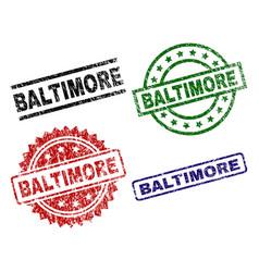 Grunge textured baltimore stamp seals vector
