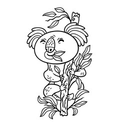 Hand drawing koala in cartoon style animal vector