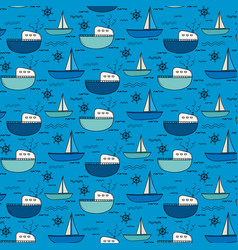 hand drawn fishing boat pattern background vector image