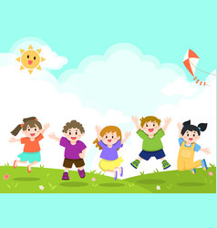 Happy children playing at outdoor park vector