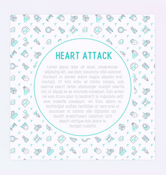 heart attack concept with thin line icons vector image