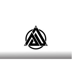 Initial letter ad linked triangle design logo vector