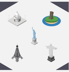 Isometric travel set of rio india mosque new vector