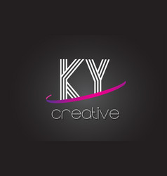 ky k y letter logo with lines design and purple vector image