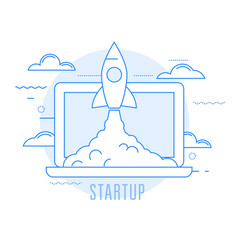 Launching sturtup - rocket launch new business vector