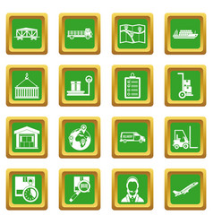 Logistic icons set green vector