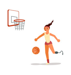 male disabled young sportswoman playing basketball vector image