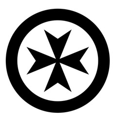 maltese cross icon black color simple image vector image