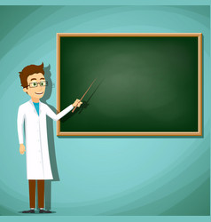 man in white lab coat standing next to the board vector image